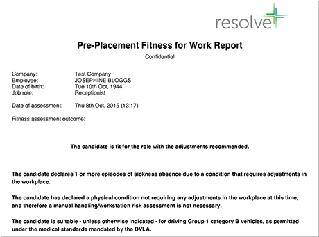 Pre-placement Screening fitness statement